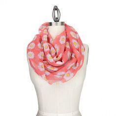 Pink Daisy Infinity Scarf