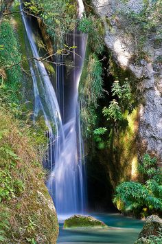 Beautiful waterfalls on Río Urederra in Basque Country, Spain