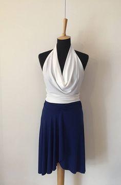 Blue Jersey Tango Skirt  Milonga Outfit  Argentine Tango