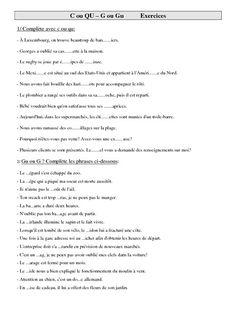 Exercices d'orthographe cm2- cycle 3: C ou QU – G ou Gu