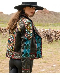 Double D Ranchwear ABENAKI Black/Multi Leather Jacket