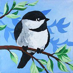 Social Artworking Canvas Painting Design - Little Chickadee
