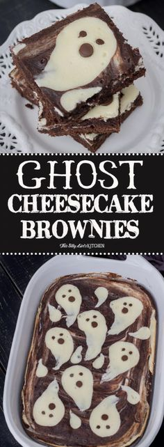 Spooky and cute - Ghost Cheesecake Brownies from ThisSillyGirlsKitchen.com #cheesecake #brownies #cheesecakebrownies
