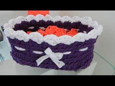 Como se hace una cesta redonda de trapillo a crochet (diestro) - YouTube