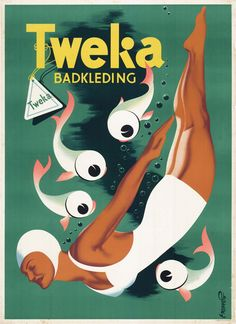 Frans Mettes, poster illustration for Tweka bathing suits, Netherlands. Source LOVE these fishies! Vintage Advertising Posters, Retro Poster, Old Advertisements, Poster Ads, Retro Ads, Vintage Travel Posters, Vintage Bathing Suits, Vintage Swim, Pub Vintage