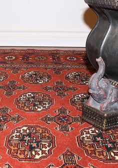"""Boho decor - THIS IS MY RUG IN CHARLESTON! (BOKHARA) - http://nwrugs.com/products/rug-oneofakind-rug-sale-oneline-showroom-turkmen-tribal-rug-wv80024795-iran - All Turkmen rugs and carpets have geometric patterns. The repeated """"Gul"""" motif (elephant footprint) is the main indication of Turkem rugs. Weavers in Turkmenistan use Turkish knots and these type of rugs are among the finest quality tribal rugs.... #loveofrugs #interiordesign #homefurnishings #rugs #decorating #homedecor #home…"""