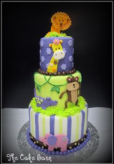 Jungle themed baby shower cake - I made this cake to match the baby bedding. Sizes are 8, 6, and 4. Super cute!!! TFL!