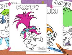 Free Trolls Coloring Pages. KidsPartyWorks.Com