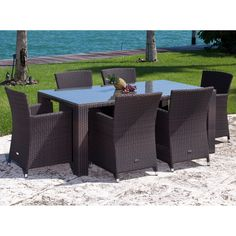 Have to have it. Source Outdoor St. Tropez All-Weather Wicker Patio Dining Set - Seats 6 - $3573.75 @hayneedle
