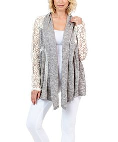 Loving this Gray Lace-Sleeve Open Cardigan on #zulily! #zulilyfinds