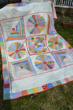 30's  Fabric Feedsack Dresden Plate Log Cabin Red Rick Rack Twin Quilt. $420.00, via Etsy.