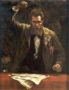 Der Sozialist,Robert Koehler (1850-1917) 1885.                 Öl/Holz, 39,7 x 31 cm;                 bez. u. r.: Rob. Koehler.                 Berlin, Deutsches Historisches Museum (1989/1144).