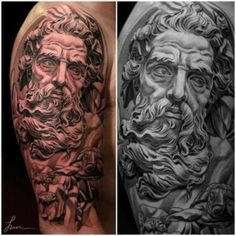 Sick Tat! Portrait of Poseidon Stunning work! Look at the detail and how the image was captured…it's flawless. The image is interpreted into the skin like a replica. This is just completely superb! Artist piece by Jun Cha, photo by Tattoo Artist Magazine.