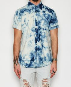 The People Vs / Bleached Days Short Sleeve Shirt Tie Dye Denim All Men's Styles Men Tie Dye Tips, Dyed Tips, Mens Shirt And Tie, Fashion Beauty, Mens Fashion, Bleached Denim, Summer Looks, Fashion Prints, Menswear