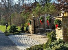 Winter Wonderland driveway gate- just needs colors to match home exterior Driveway Entrance Landscaping, Brick Driveway, Farm Entrance, House Entrance, Wrought Iron Gate Designs, Wrought Iron Driveway Gates, Farm Gate, Entrance Gates, Winter Wonderland