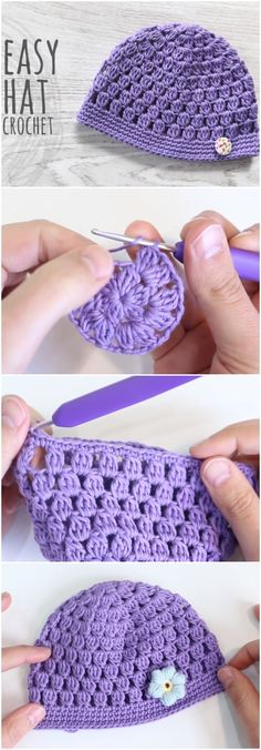Easy To Crochet Beanie Hat Bobble Stitch