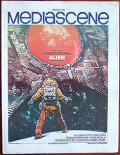 Mediascene #35: January-February 1979, NM: Unfolded, 36 pages, size approximately 11.25 x 15 inches, Steranko's Media Overview Newspaper; Alien color cover and centerfold artwork by Moebius, In-depth 3-part look at the Alien film with plenty of interviews, photos and pre-production artwork, the syndicated Star Wars newspaper strips with art by Russ Manning. $20