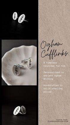 Custom silver cufflinks, crafted by hand in Ireland. Handmade Silver, Handcrafted Jewelry, Irish Jewelry, Precious Metals, Bespoke, Ireland, Cufflinks, Jewelry Design, Sterling Silver