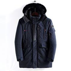 ZXFHZS Mens Down Coat Winter Warm Faux Fur Hooded Zipper Jacket Outwear
