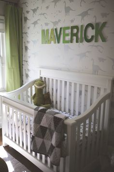 Modern dinosaur nursery Grey greens whites and black Mod-podge scrapbook paper name above the cr Modern dinosaur nursery Grey greens whites and black Mod-podge scrapbook paper name above the cr Madeline Jacobson little humans nbsp hellip