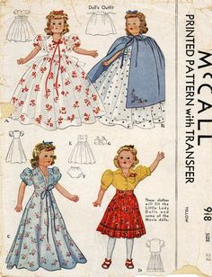 ORIGINAL Doll Clothes PATTERN 918 for 22 in F & B Little Lady doll by Effanbee
