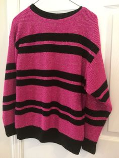 WOMENS SWEATER by MADEMOISELLE GLITTER STRIPE LONG SLEEVE BLACK PINK USA #mademoiselle #Sweater