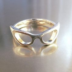 Cat Eye Glasses Ring by theharbingerco on Etsy
