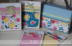 Handbag and cards, stampin up tutorial, michelle last, handbag, demonstrator, card making project, gingham garden