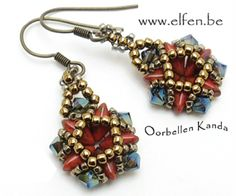Kanda Earrings - Free Beading pattern by Un-Roen Manarata Ear Jewelry, Jewelry Crafts, Beaded Jewelry, Jewelry Making, Beaded Bracelets, How To Make Earrings, Bead Earrings, How To Make Beads, Beaded Earrings Patterns