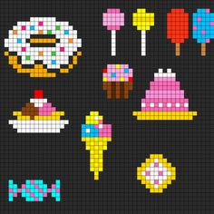 Small sweets and treats chart for cross stitch, knitting, knotting, beading, weaving, pixel art, and other crafting projects.