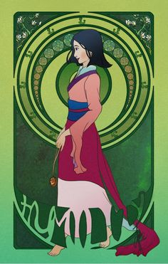 Art Nouveau Disney Princesses #7 Humility: Mulan  This series of Virtues is done by artist Patricia Lestari. Maybe she wanted to give the girls a better rap after all those sins. Mulan's a good way to start. via http://th02.deviantart.net/