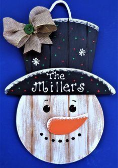 397fec40b346d Personalized Name SNOWMAN SIGN Grooved Wood Hanging Hanger Plaque Winter  Door Wall Country Wood Crafts Holiday. Christmas ...