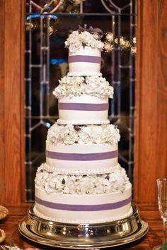 White & Purple Wedding Cake - so pretty!! for me, one day. haha