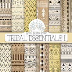 "Tribal digital paper: ""TRIBAL ESSENTIALS I"" with tribal, aztec pattern, background on neutral colors, earth shades, brown, beige, ochre"