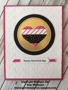 Stampin Up Kim Williams, Pink Pineapple Papercrafts. Valentine card ideas. Stampin with Kjoyink. Pop of Pink washi tape and paper work great with this die cut heart for Valentines Day. Happy Hearts and Stitched Shape framelits give it pop.