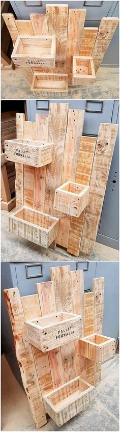 This wood pallet stylish wall shelf is designed in a low cozy height level that . Wood Pallet Recycling, Wooden Pallet Projects, Pallet Crafts, Diy Pallet Furniture, Wood Wall Shelf, Wall Shelves Design, Wall Design, Scrap Wood Crafts, Palette Diy
