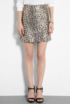 Leopard Print Sequin Skirt by Love Moschino