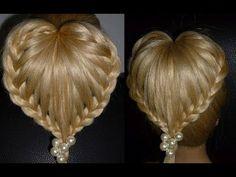 """""""Сердце"""" Причёска для средних/длинных волос. Причёски с плетением. Плетение кос.Плетение волос - YouTube"""