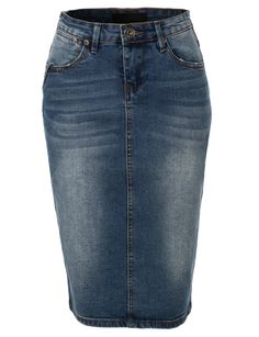 LE3NO Womens High Waisted Denim Pencil Skirt with Stretch