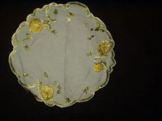 Antique Society Silk Embroidery Yellow Roses Linen Table Doily