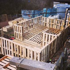 Picture of the pallet shed that im making at my allotment, will be filled with pallet furniture when its done :) http://www.thepalletshed.com