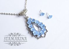 Light Blue Flower Necklace, Forget-me-not Drop Pendant, Delicate Floral Jewelry…
