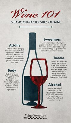 When it comes to wine descriptions, even some of the most basic terms used can be confusing. To set you on the right tasting track, we've put together a guide to the 5 most essential wine characteristics. Wine Descriptions, Wine Cheese Pairing, Wine Club Monthly, Organic Wine, Wine Education, Wine Guide, Wine Quotes, Cocktail Drinks, Alcoholic Drinks