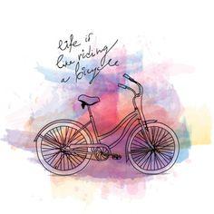 Andar en bicicleta, vintage postal