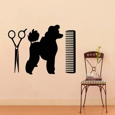 Animaux de compagnie Wall Stickers toilettage Salon autocollant vinyle autocollant chiot animalerie ciseaux Design d