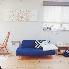 Mieさんの、ナチュラル,リビング,ペーパーバッグ,イデー,ソファ,家具,北欧インテリア,ファブリックパネル,marimekko,無垢材,インテリア,北欧,IKEA,狭小住宅,一戸建て,アーコールチェア,シンプル,フローリング,無垢の床,のお部屋写真