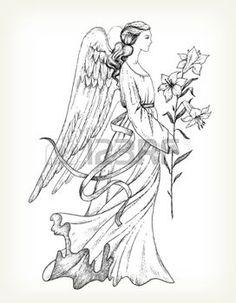 dessin anges: Main ange dessiné avec lily