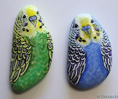 Set of 2 Budgies Hand Painted on pebble | Unique and Realistic Hand Painted Rock Art by Sunanda Sarker