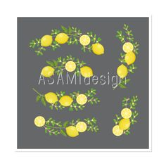Floral Clusters Lemon Clipart : clip art, flowers bouquet, floral bunch,summer, spring, vintage feel, retro, PNG on Etsy, $3.25