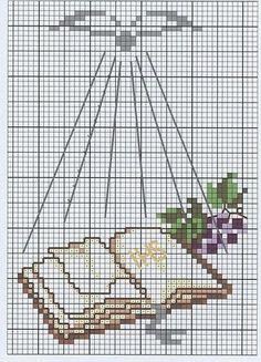 Sogniecoccole Schemi Gratis: Schemi PRIMA COMUNIONE Crochet Cross, Crochet Chart, Filet Crochet, Cross Stitch Designs, Cross Stitch Patterns, Cross Stitching, Cross Stitch Embroidery, Première Communion, Graph Paper Art